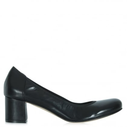 Black Low Block Leather Court Shoe