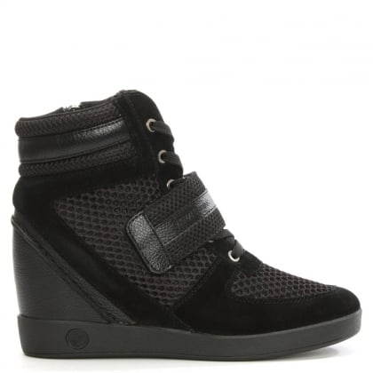 Black Mesh High Top Wedge Trainer
