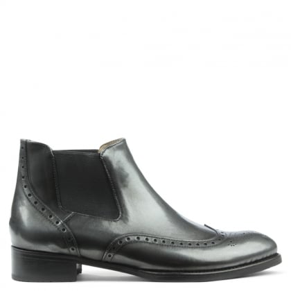 Black Metallic Leather Brogue Chelsea Boot