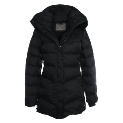 Black Mid Length Fur Trim Hooded Jacket