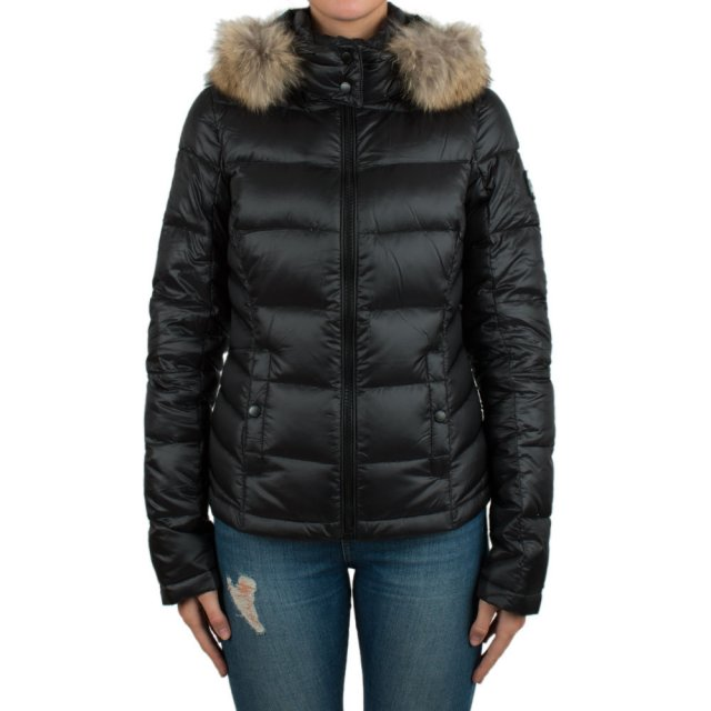 Black Nylon Duck Down Short Fur Hood Jacket