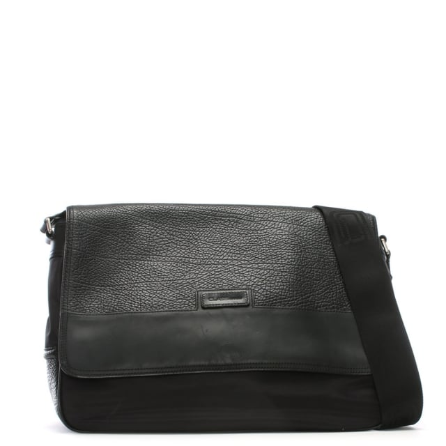Black Nylon & Leather Messenger Satchel