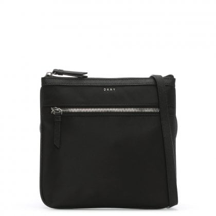 Black Nylon Top Zip Cross-Body Bag