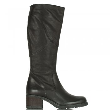 Black Patched Women's Knee High Leather Boot