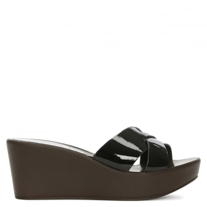Black Patent Cross Strap Wedge Mule