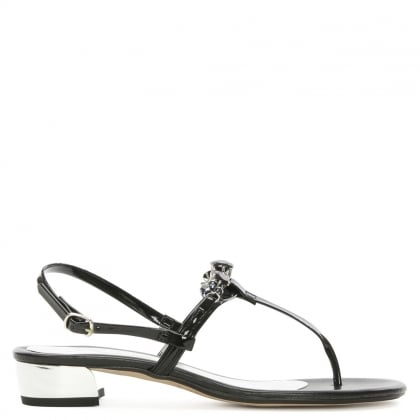 Black Patent Jewelled Toe Post Sandal