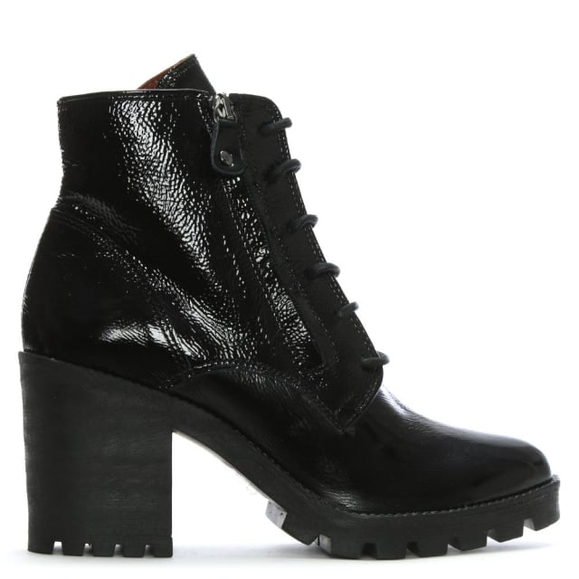 Black Patent Leather Block Heel Ankle Boots