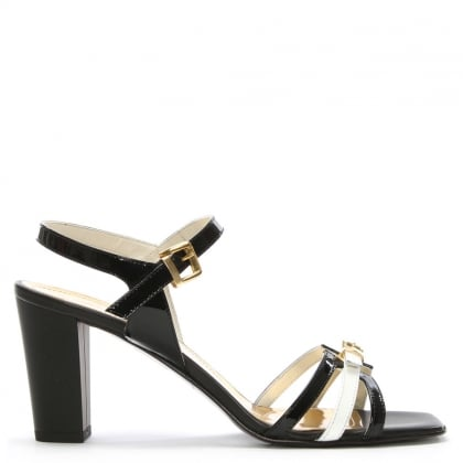 Black Patent Leather Buckle Strap Sandal