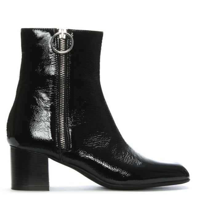b70ceede2f0 Minelli Black Patent Leather Exposed Zip Ankle Boots