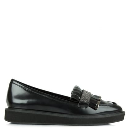 Black Patent Leather Fringe Loafer