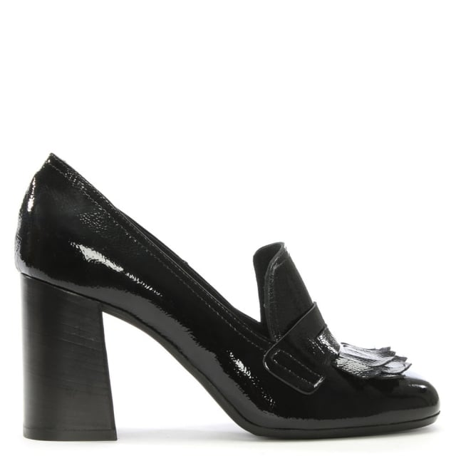 manas black patent leather fringed court shoes