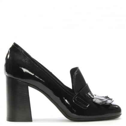 Black Patent Leather Fringed Court Shoes