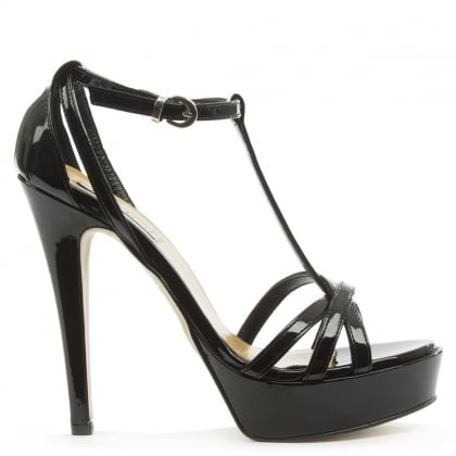 Mani Per Donna Piu Black Patent Leather High Platform T Bar Sandal
