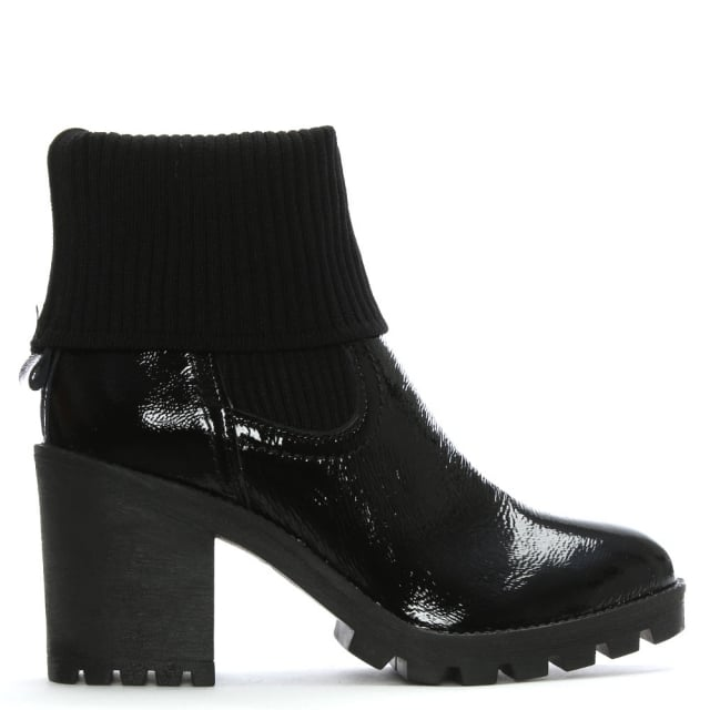 Black Patent Leather Sock Cuff Chelsea Boots