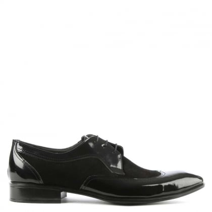 Black Patent Leather & Suede Panelled Dress Shoe