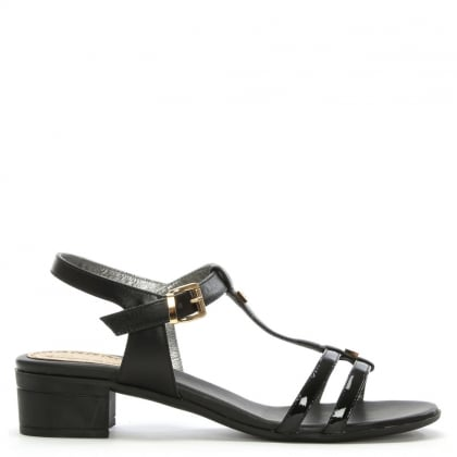 Black Patent Leather T Bar Heeled Sandal