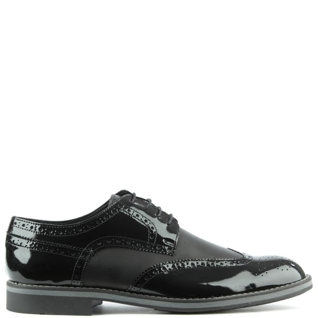Black Patent Patent Lace Up Brogue