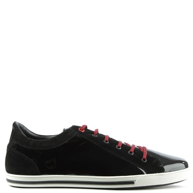 Black Patent Sporty Lace Up Trainer