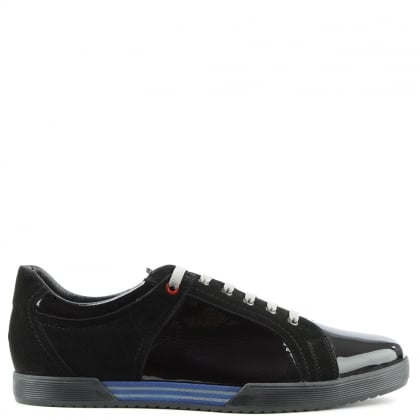 Black Patent & Suede Sporty Lace Up Trainer