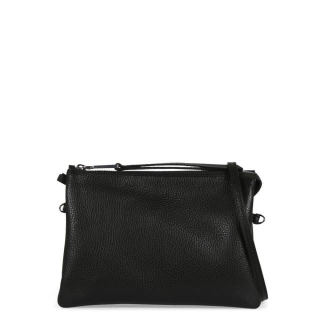 Abro Black Pebbled Leather Cross-Body Bag