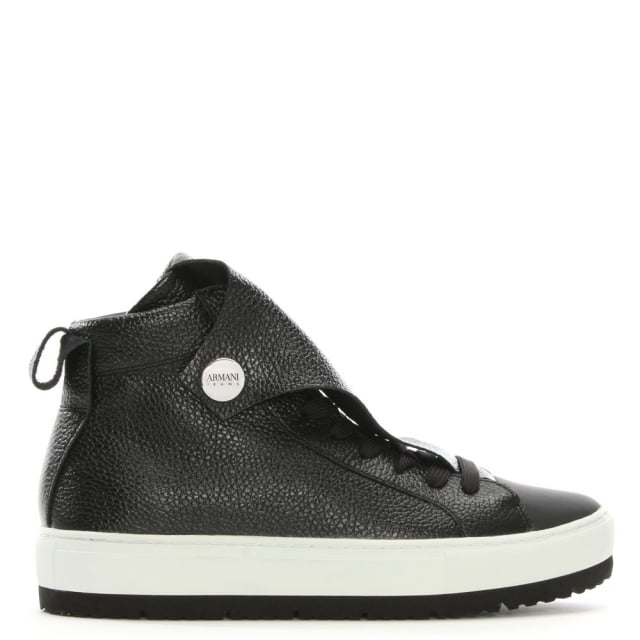 Armani Jeans Black Pebbled Leather High Top Sneakers