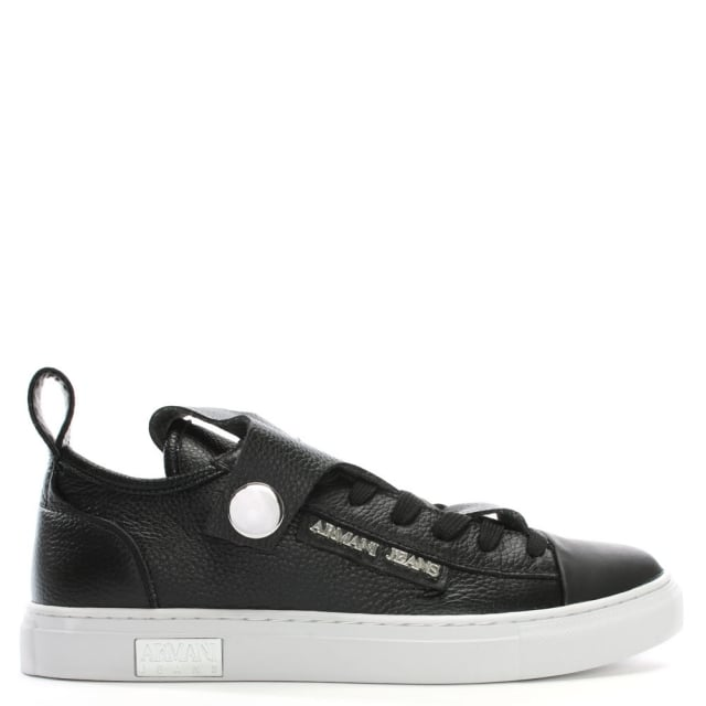 Armani Jeans Black Pebbled Leather Low Top Sneakers