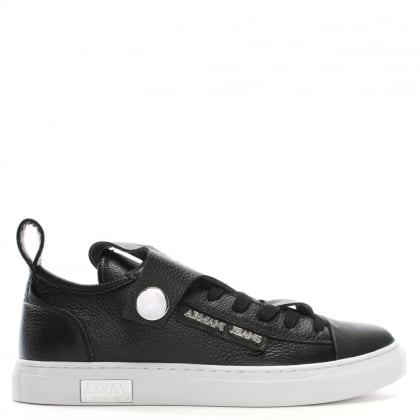 Black Pebbled Leather Low Top Sneakers