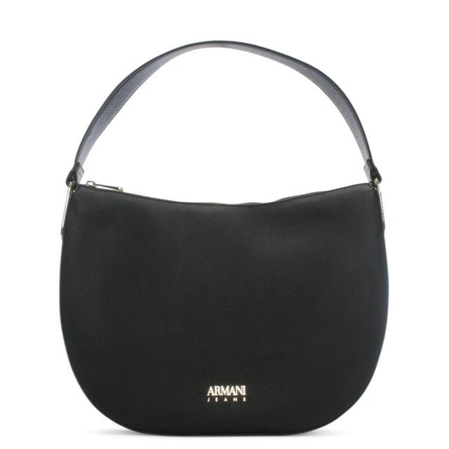 Armani Jeans Black Pebbled Top Handle Shoulder Bag