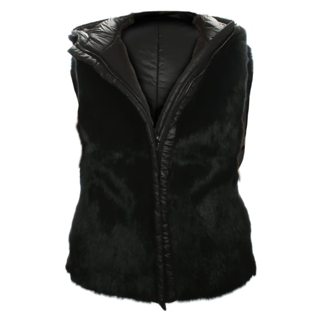Black Premium Hooded Reversible Fur Gilet