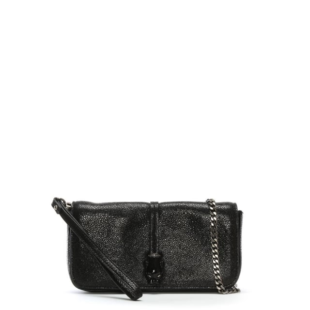 Black Reptile Leather Evening Bag