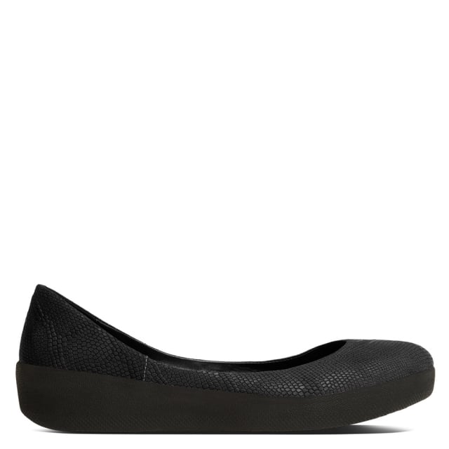 a4a8ee205 FitFlop Black Reptile Leather Superballerina Pump