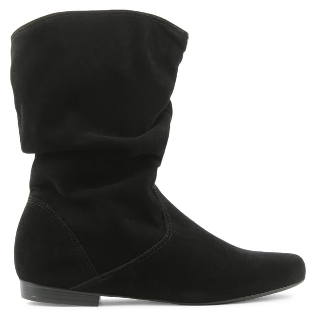 Black Ruched Ankle Boot