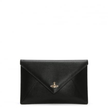 Black Saffiano Leather Envelope II Pouch