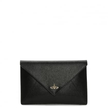 Black Saffiano Leather Envelope Pouch