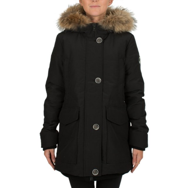 Black Short Fur Trim Hooded Parka
