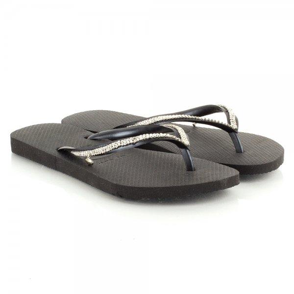 5dcee927fe1d Havaianas Black Slim Crystal Mesh Flip Flop