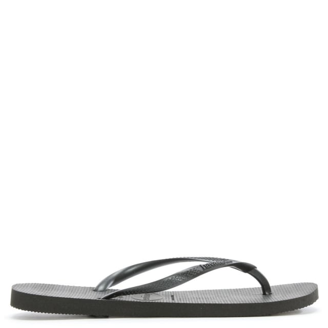 Black Slim Logo Women's Flip Flop