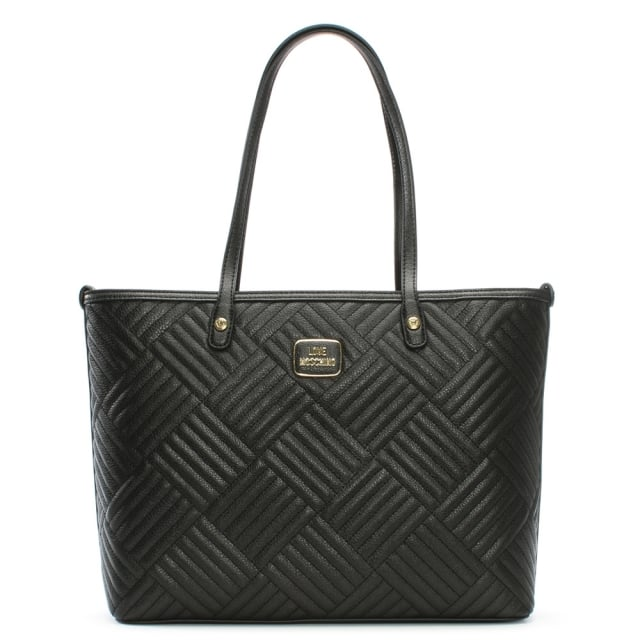 Love Moschino Black Square Quilted Large Shopper