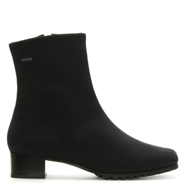 Black Stretch Block Heel Ankle Boots