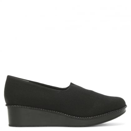 Black Stretch Low Wedge Loafer