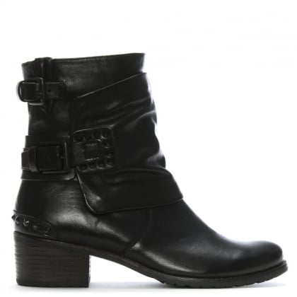 Black Studded Women's Biker Boot