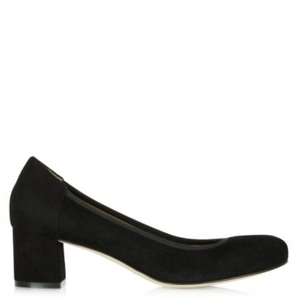 Black Suede Block Heel Court Shoe