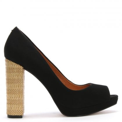 Black Suede Block Heel Court Shoes