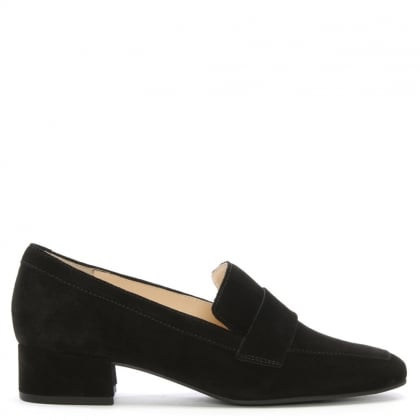 Black Suede Block Heel Loafers