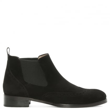 Black Suede Brogue Chelsea Boot