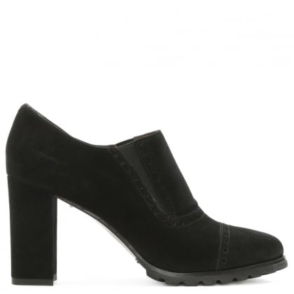 Black Suede Brogue Detail Heeled Shoe