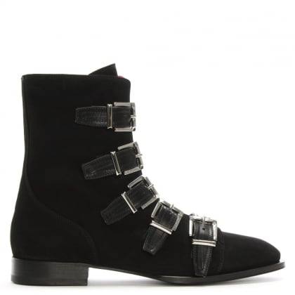 Black Suede Buckled Biker Boots