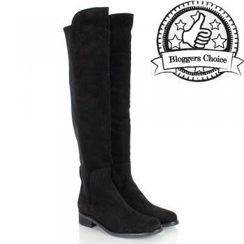 Black Suede Clyde Womens Flat Knee Boot