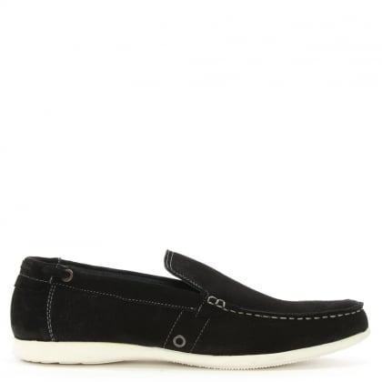 Black Suede Contrast Sole Loafers