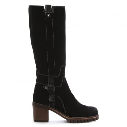 Black Suede Contrast Stitch Knee Boots